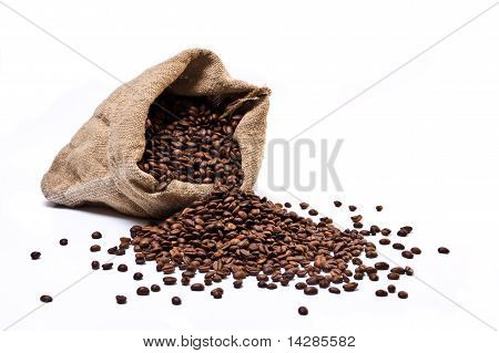 Coffee Beans Sack With Scattered Beans