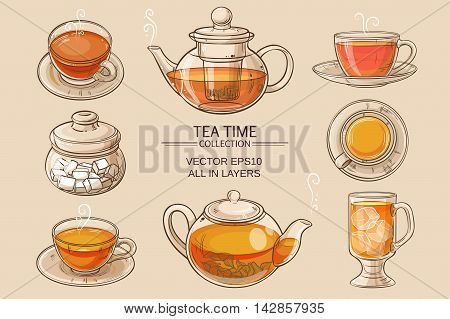Cup of tea teapot and sugar bowl vector set on brown background
