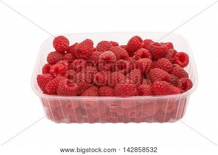 ripe fruity raspberries on a white background