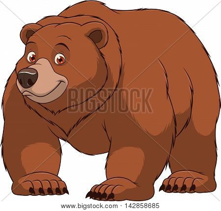 Vector illustration, a large wild bear is smiling