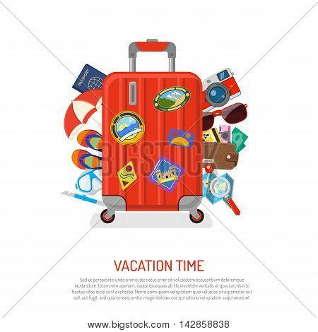 Vacation, Tourism and Summer Concept with Flat Icons for Web Site, Advertising like suitcase with passport, map, wallet, camera and diving mask. Isolated vector illustration.