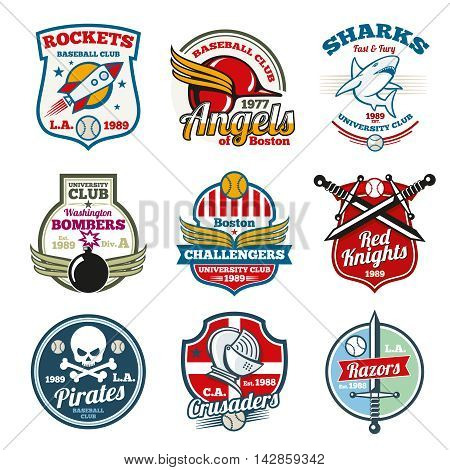 University and college school labels, logos, badges and emblems set. T-shirt design for sport team. Vector illustration