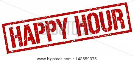 happy hour stamp. red grunge square isolated sign