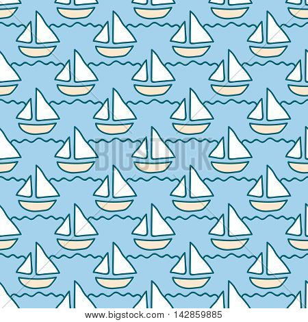 Seamless sea background. Hand drawn pattern. Suitable for fabric, greeting card, advertisement, wrapping. Bright and colorful sailing ships on waves seamless pattern