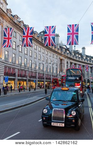 Traffic On Regent Street, London, Uk, At Dusk