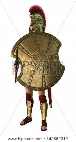 3D Rendering Ancient Greek Soldier On White