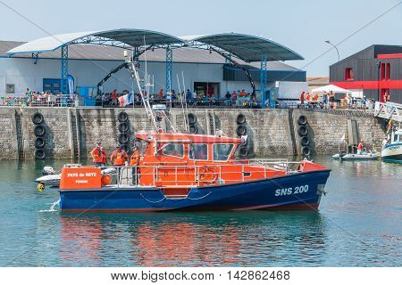 Boat From The Company Coastguards On Sea