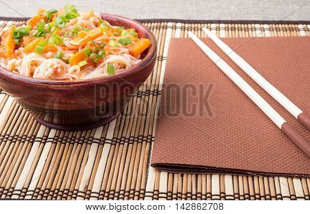 Rice Vermicelli Hu-teu In A Small Brown Wooden Bowl