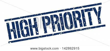 high priority stamp. blue grunge square isolated sign
