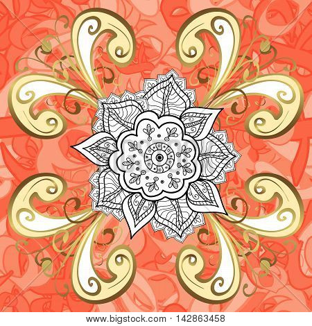 Vector texture with golden floral doodles flowers on round pink and ight red background.