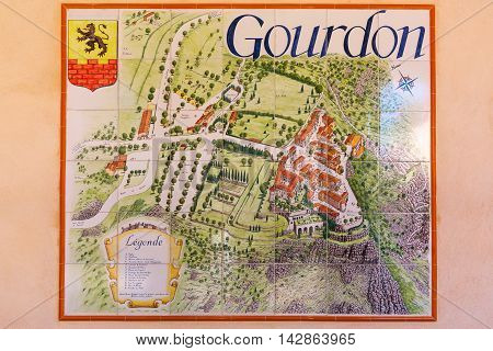 City Map Of Gourdon On Wall Tiles