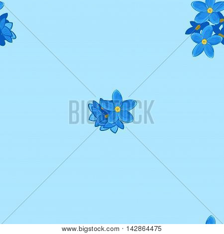 Stylish floral seamless pattern with forget-me-not on blue background.