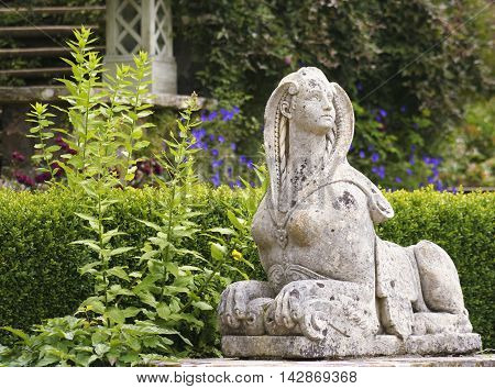 CONWY, WALES, JUNE 27. Bodnant Garden on June 27, 2016, near Conwy, Wales. A Shot of the Sphinx in Bodnant Garden near Conwy Wales.