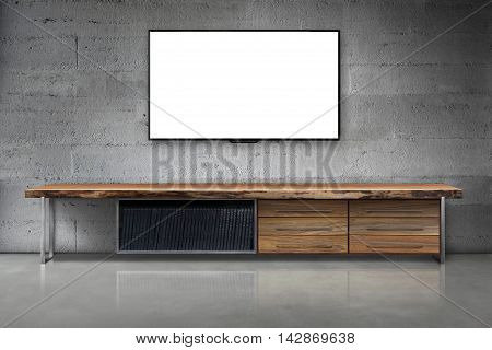 Led Tv On Concrete Wall With Wooden Table Living Room