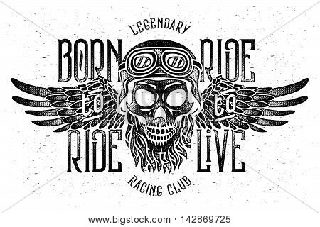 Aggressive vintage t-shirt print with beard skull wearing a biker helmet with spread wings. Text lettering composition
