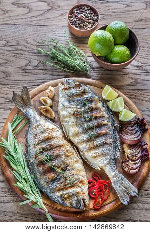 Grilled Dorade Royale Fish On The Wooden Board
