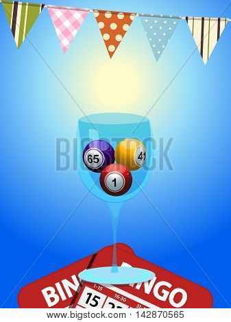 Bingo Balls in a Glass Over Blue Background with Bunting and Cards