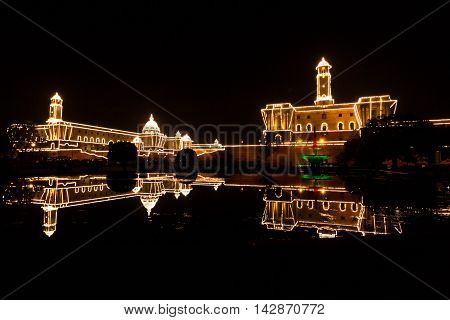 The illuminated Buildings of the Central Secretariat Delhi