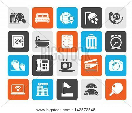 Silhouette Hotel and motel services icons 1- vector icon set