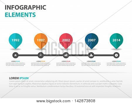 Abstract roadmap business timeline Infographics elements presentation template flat design vector illustration for web design marketing advertising