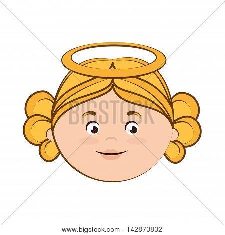 angel heaven halo wing girl cute cartoon vector  isolated illustration