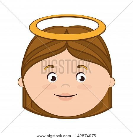 angel heaven halo wing hair eyes mouth vector  isolated illustration
