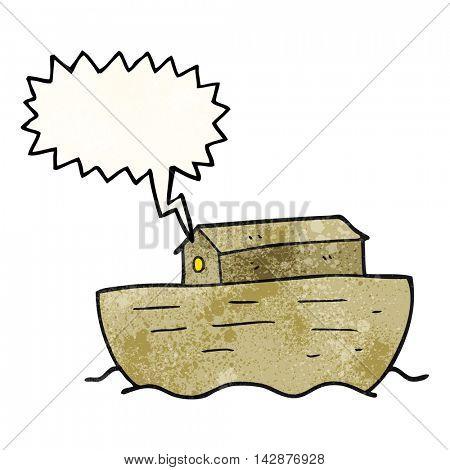 freehand speech bubble textured cartoon noah's ark