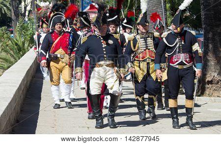 Ajaccio city Corsica island France-August 14 2016: The reenactors dressed as Napoleonic soldiers for celebration the Napoleon birthday who was born in Ajaccio.