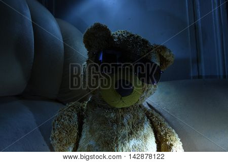 Teddy bear with glasses in the style like a boss