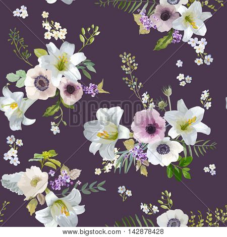 Vintage Lily and Anemone Flowers Background - Summer Seamless Pattern in Vector