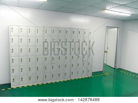 Lockers for staff in empty factory hall