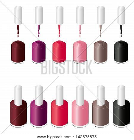 Isometric Nail Polish in the package. Glamorous tube of colored lacquers. Design for manicure beauty salon. Cosmetics for women. Set of various fashion colors. Vector illustration.