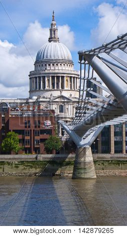 London United Kingdom - July 24 2016. View of St. Paul's Cathedral and Millenium Foodbridge over Thames River.