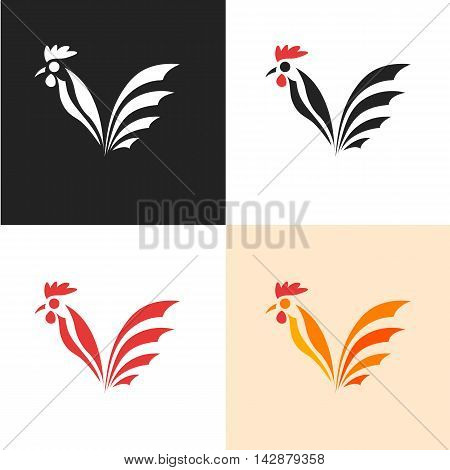 Rooster silhouette. Simple icon of the cock. Symbol 2017 New Year. The set of labels poultry. Design for poultry or meat shop. Isolated on white background. Vector illustration.