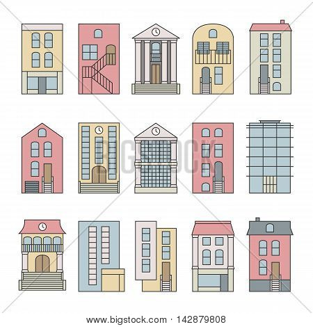 Flat thin line color vector city buildings set. Isolated on white background. Downtown skyline constructor.