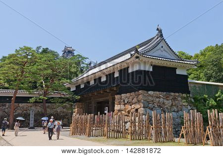 KOCHI JAPAN - JULY 19 2016: Otemon (Main) Gate (circa 17th c.) of Kochi castle Shikoku Island Japan. Kochi is one of only 12 survived castles in Japan