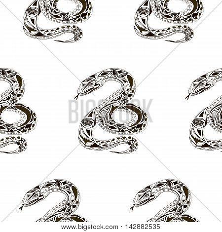 Seamles pattern. Vector flat Illustration of snake. Ethnic style.