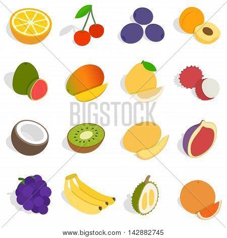 Isometric fruit icons set. Universal fruit icons to use for web and mobile UI, set of basic fruit elements isolated vector illustration