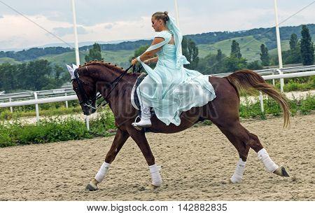 Horsewoman on horse.Hippodrome of Pyatigorsk (Northern Caucasus) season 2016.