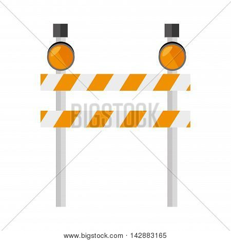 barrier precaution yellow  light roadsign construction warning vector  isolated and flat illustration