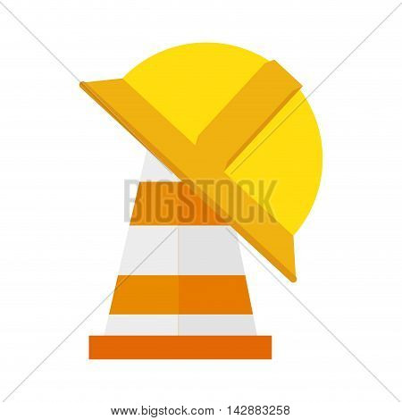 cone helmet yellow orange striped construction signal vector  isolated and flat illustration
