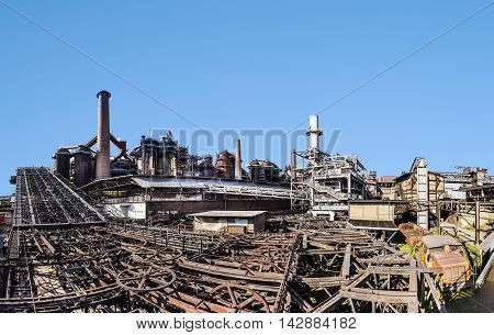 Buildings With Rails Fort Train At Volklingen Ironworks