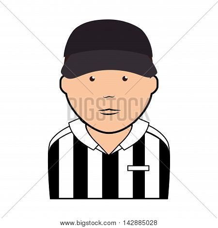 referee man male uniform striped hat face game sport  vector  isolated and flat illustration