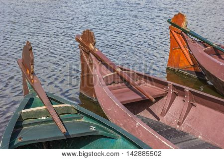 Traditional wooden boats in Giethoorn The Netherlands