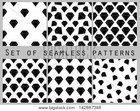 Jewelry. Set of seamless patterns with diamonds. Black and white color. The faceted diamond. The pattern for wallpaper bed linen tiles fabrics backgrounds. Vector illustration.