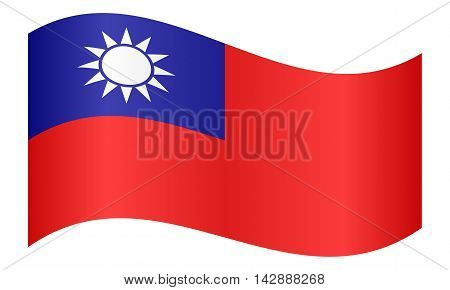 Flag of the Republic of China Taiwan waving on white background. The national flag of Taiwan.
