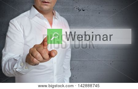 Webinar Browser Is Operated By Man Concept