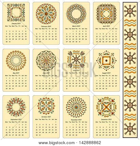 Calendar two thousand seventeenth year. Egyptian patterns. Cards for every month of the year.