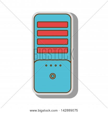 cpu tower box computer case pc technology electronic vector  isolated and flat illustration