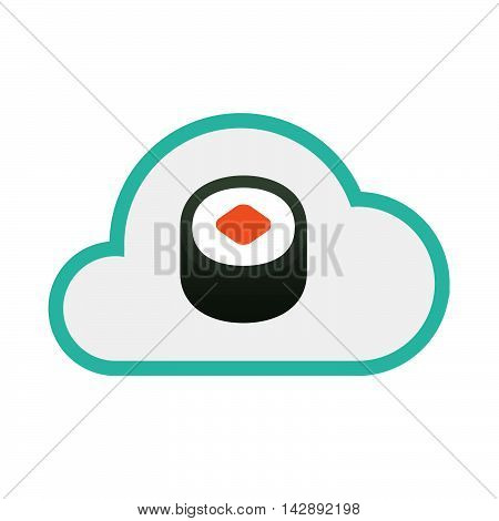 Isolated Line Art   Cloud Icon With A Piece Of Sushi Maki